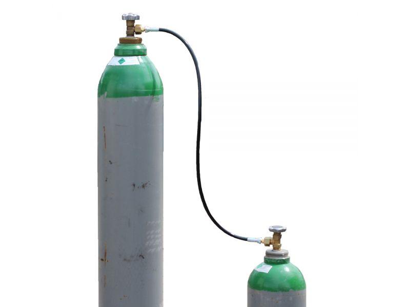 Umfüllschlauch Umfüllbogen für Gasflaschen Argon, CO2, Schutzgas Ballongas 2 m